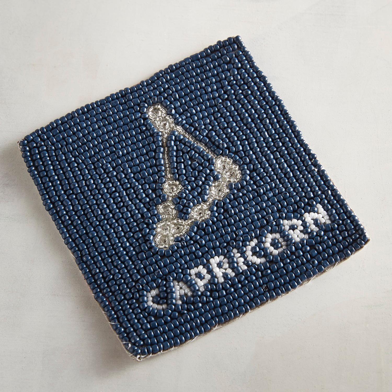 Capricorn Blue Beaded Coaster
