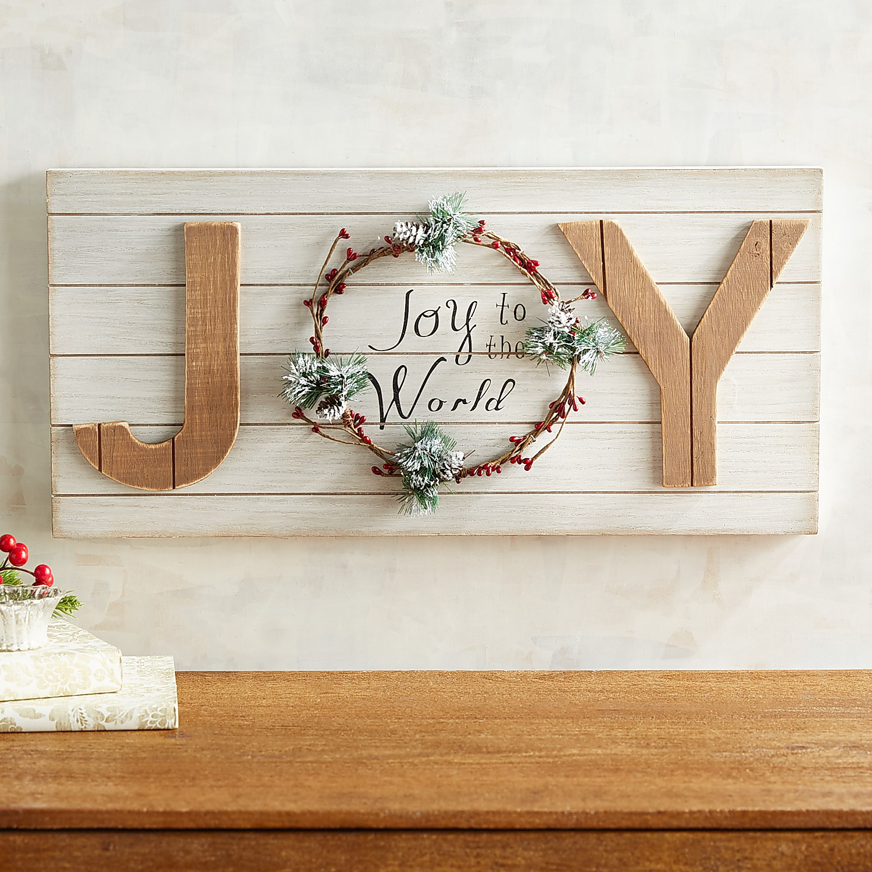 Joy Wreath Planked Wall Decor