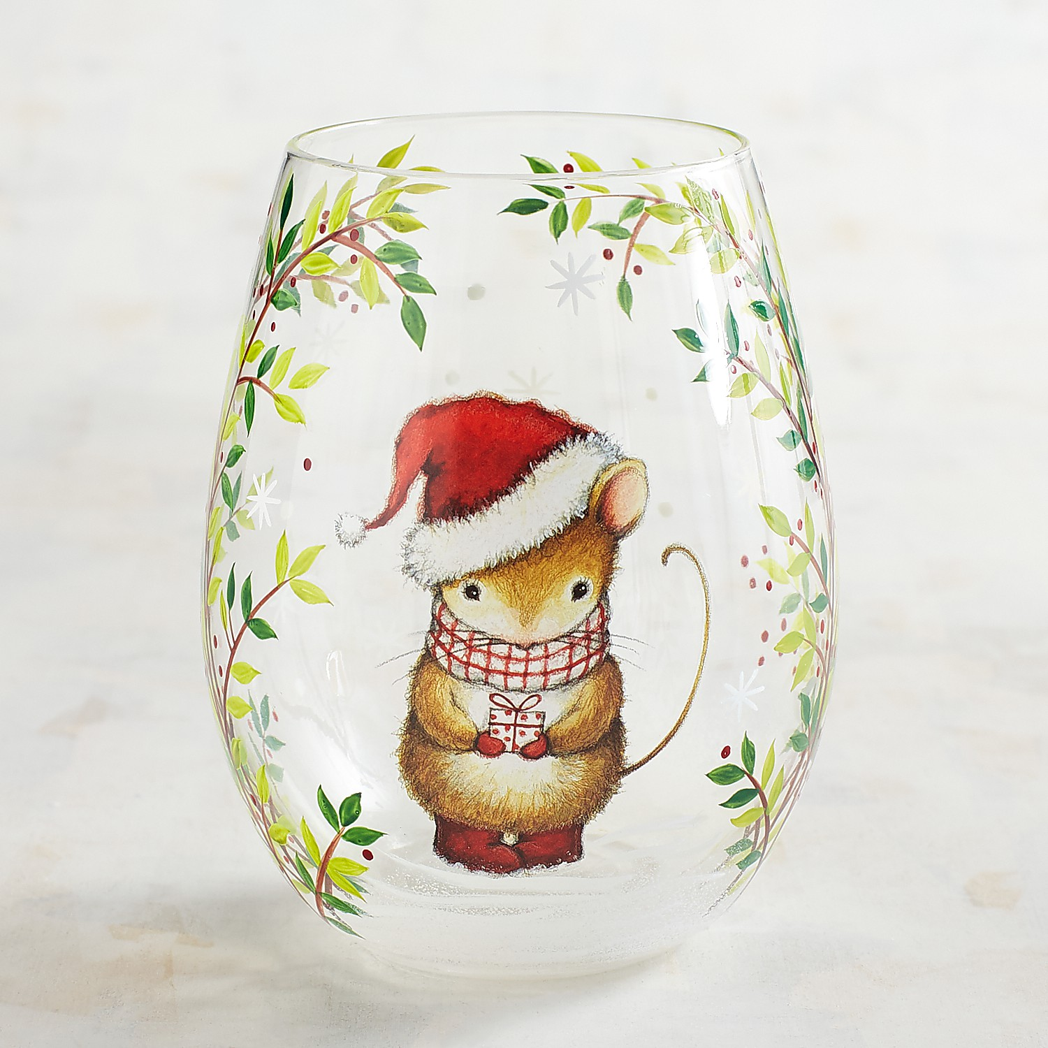 Christmas Mouse Hand-Painted Stemless Wine Glass
