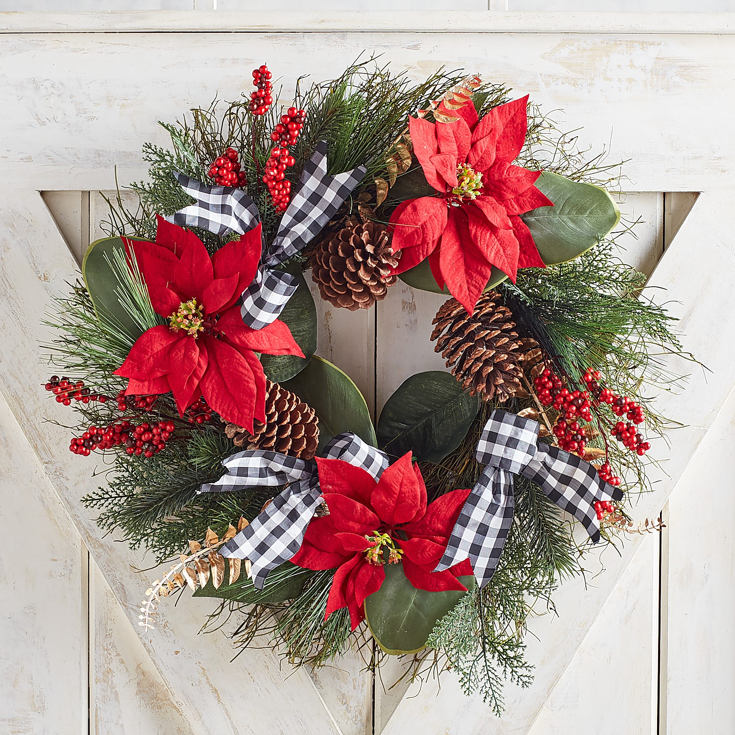 """22"""" Faux Poinsettia Wreath with Gingham Ribbon"""