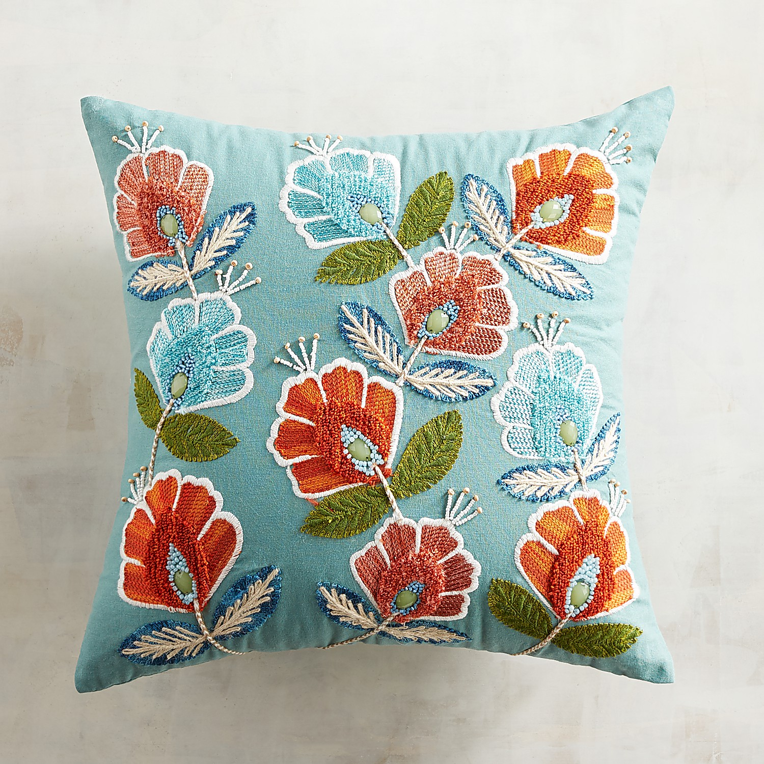 Beaded Scattered Floral Pillow