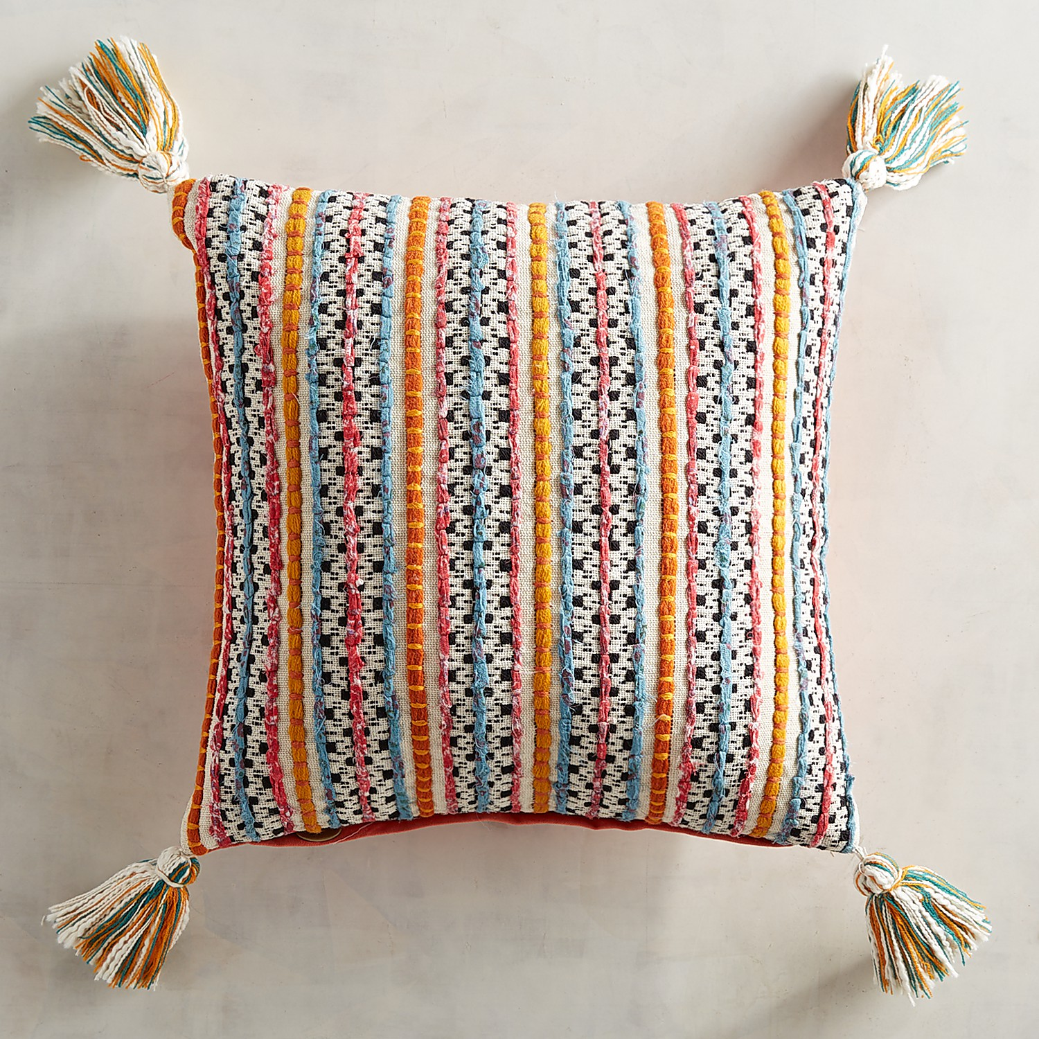 Global Textured Striped Pillow with Tassels