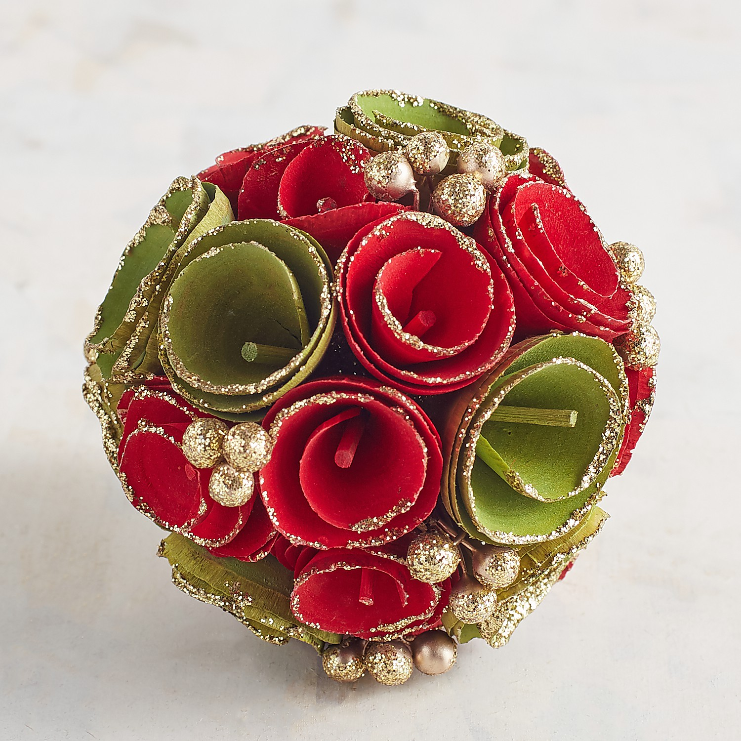 Red & Green Wood Curl Decorative Sphere
