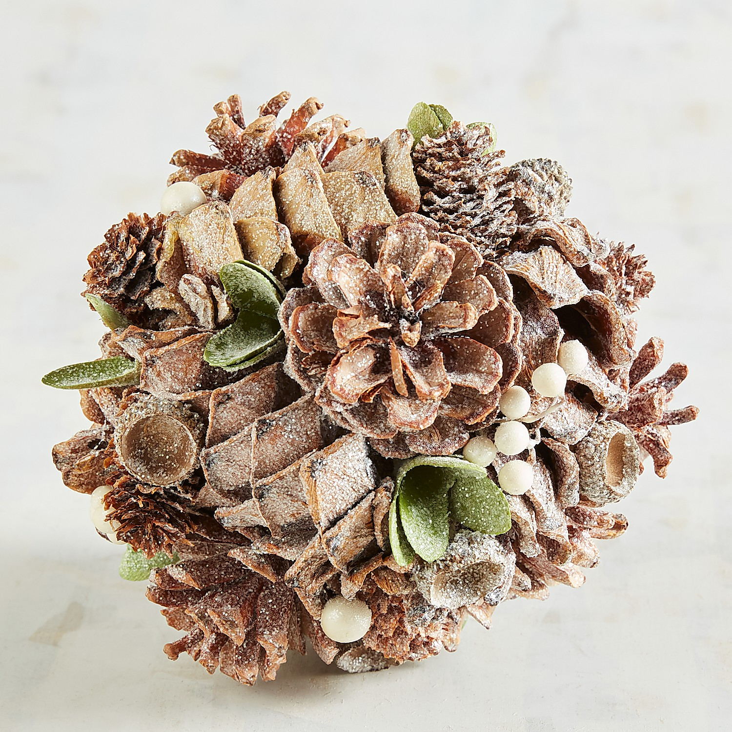 Frosted Pinecone Decorative Sphere