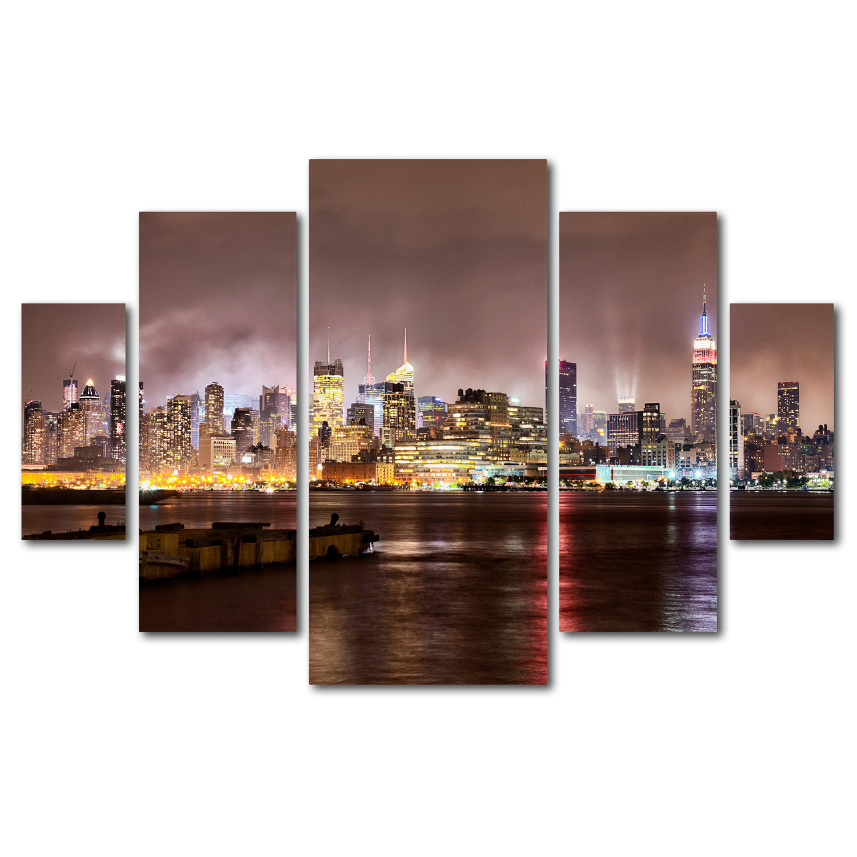 David Ayash 'Midtown Manhattan Over Hudson River' Multi Panel Wall Art