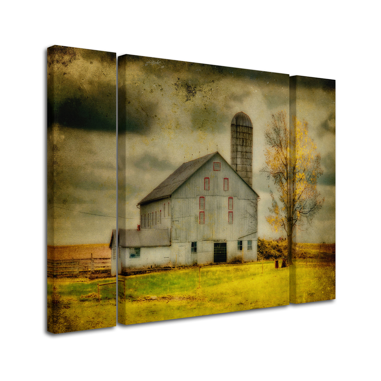 Old Barn on Stormy Afternoon Wall Art Set of 3