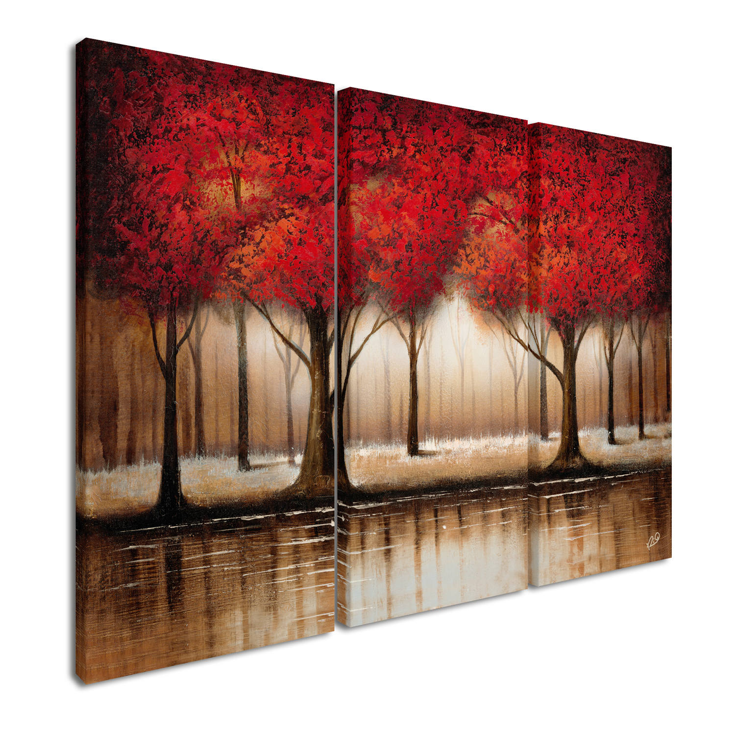 Parade of Red Trees Wall Art Set of 3