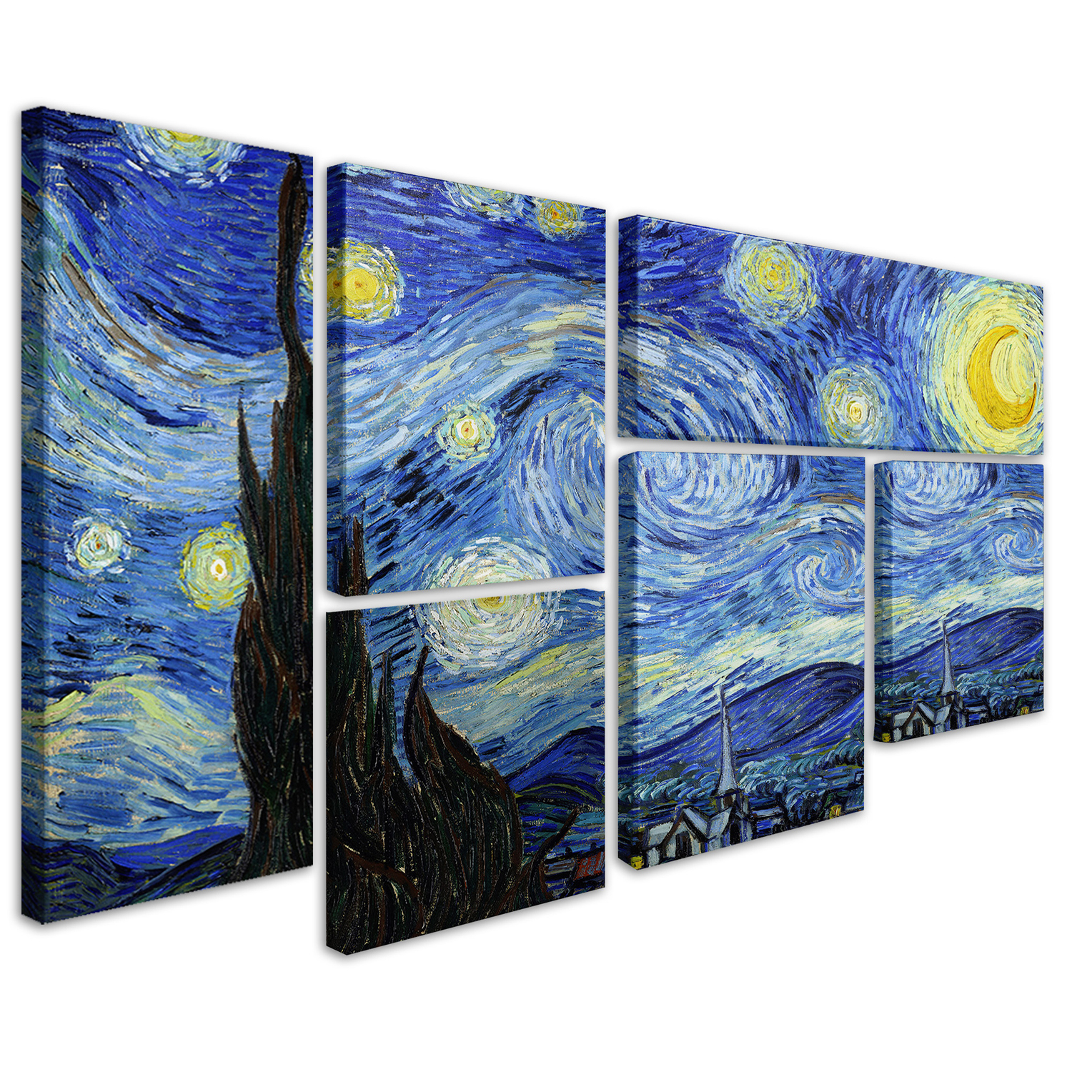 variation thumbnail of Vincent van Gogh 'Starry Night' 6-Panel Wall Art Set