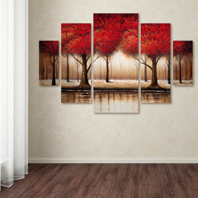 Rio 'Parade of Red Trees' Multi Panel Wall Art 5-Piece Set