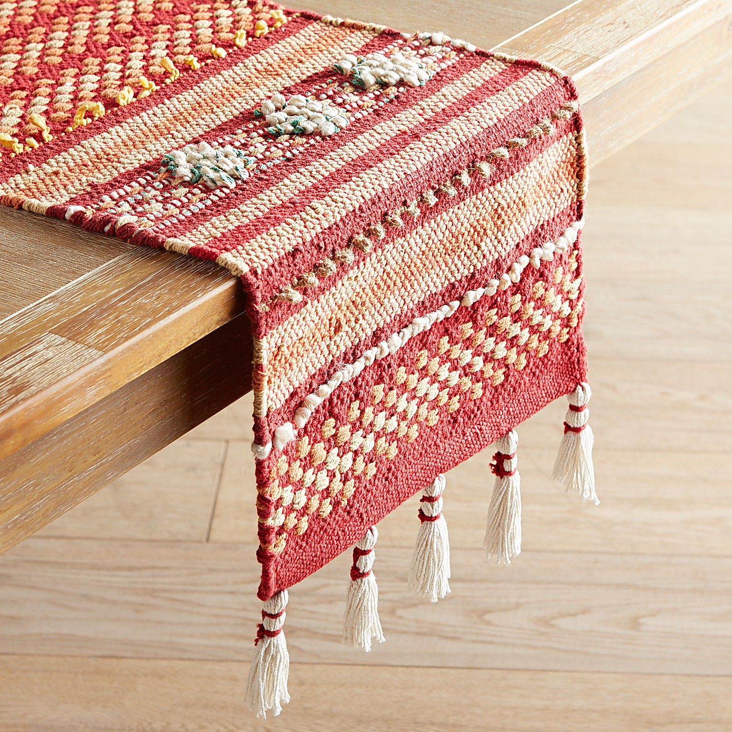 """Red & Pink Loomed 72"""" Table Runner with Tassels"""