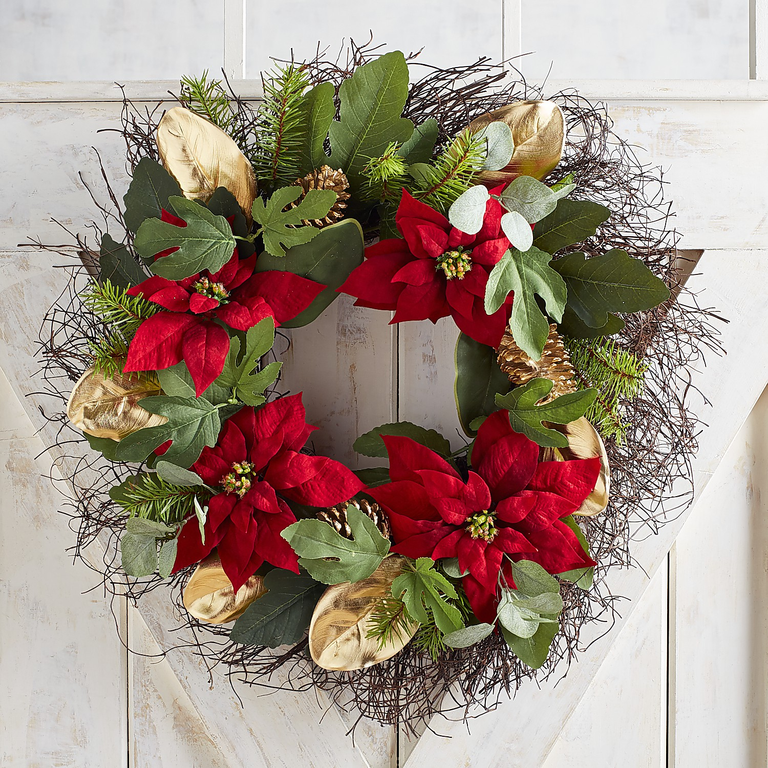 """24"""" Faux Poinsettia with Golden Leaves Wreath"""