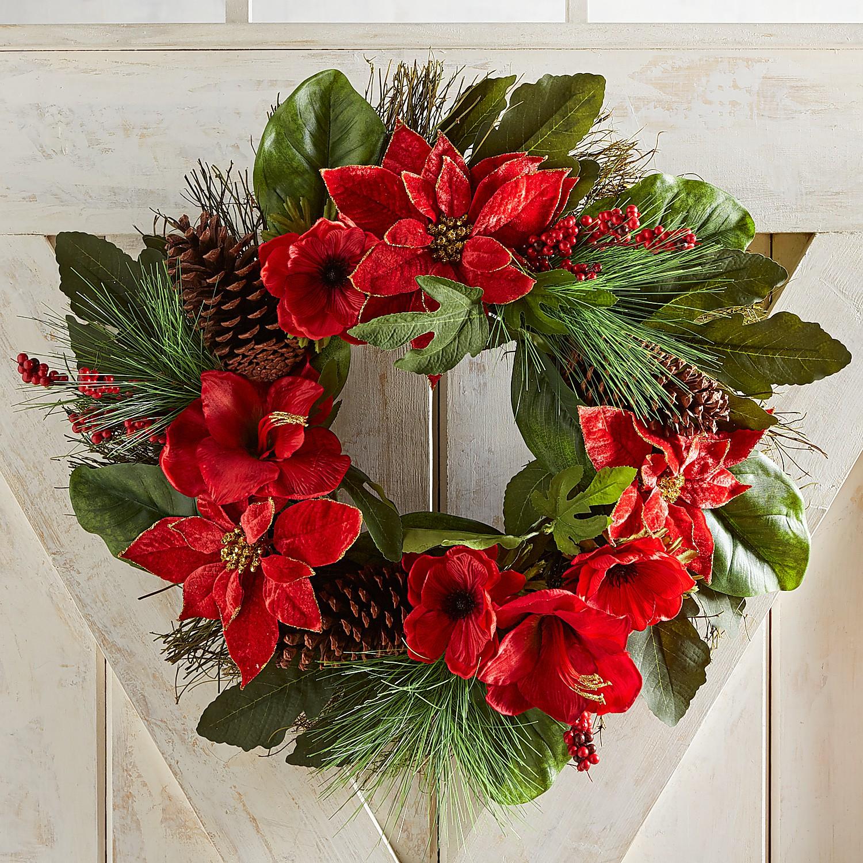 """24"""" Faux Poinsettia Pinecone & Amaryllis Wreath"""