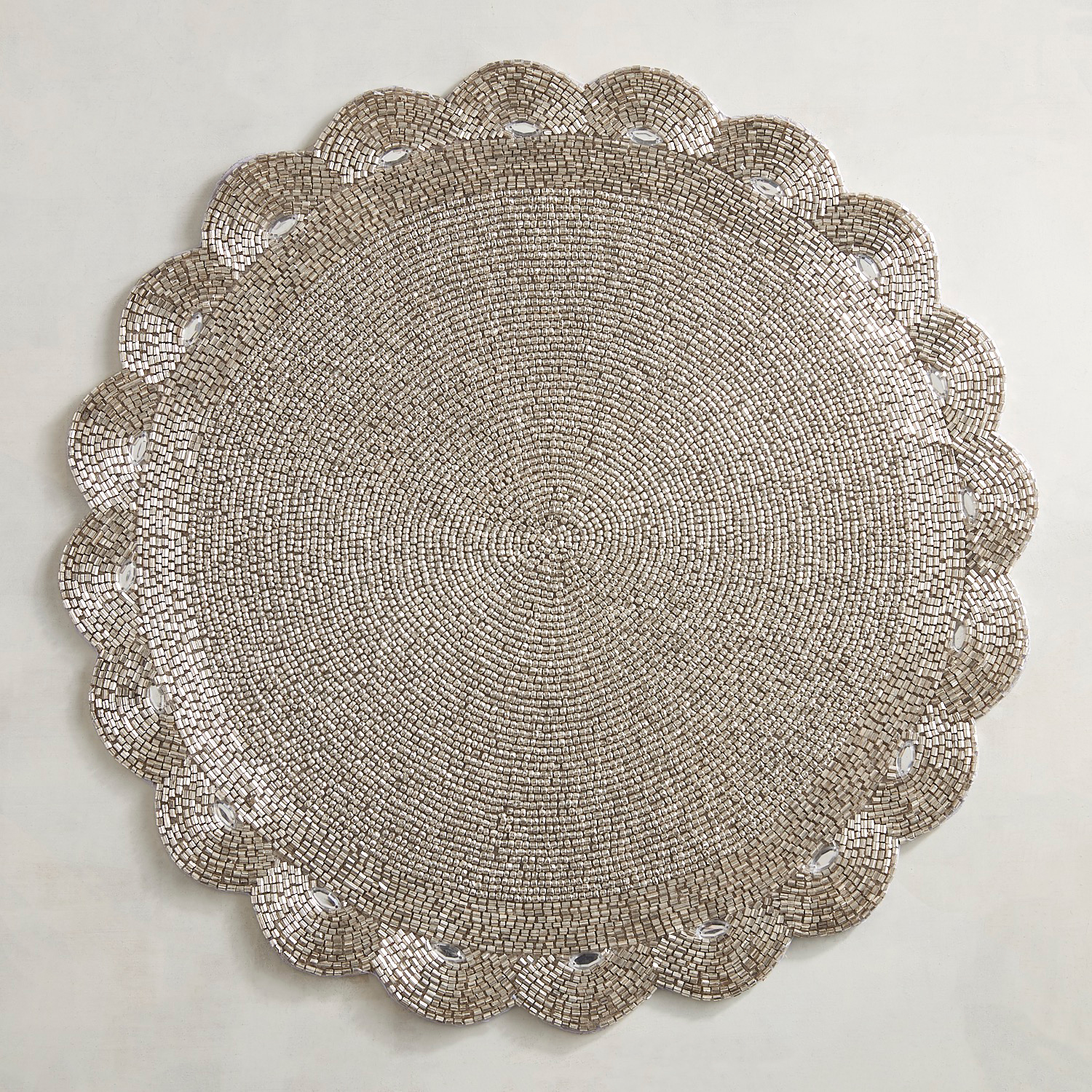Silver Flower Beaded Placemat