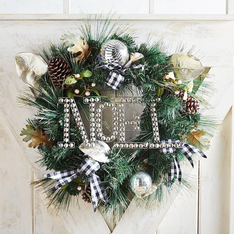 "Rhinestone Noel & Gingham Ribbon 24"" Wreath"