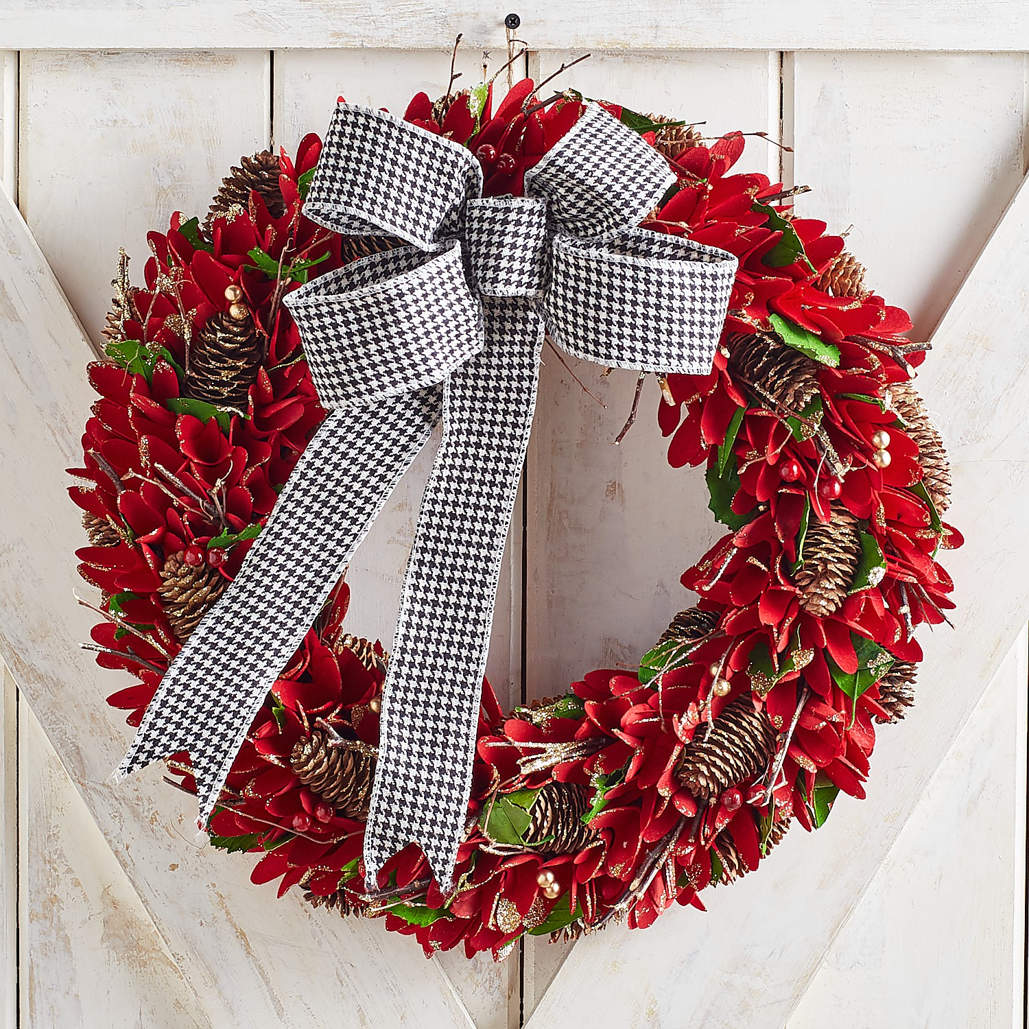 """19"""" Red Wood Curl Wreath with Houndstooth Ribbon"""