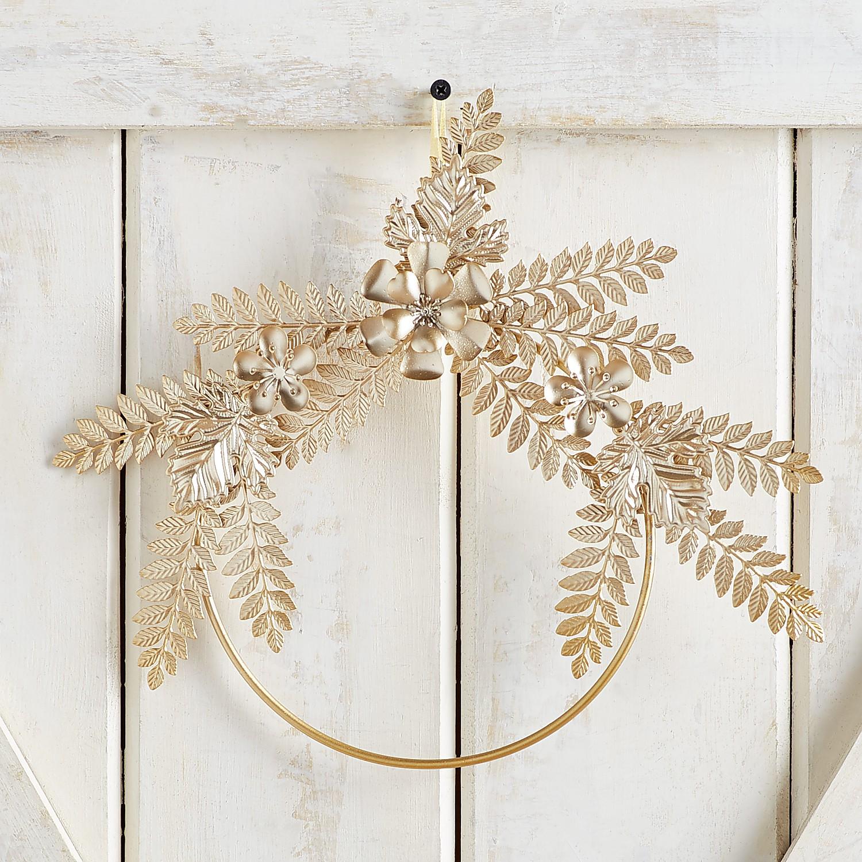 "12"" Mini Golden Metal Leaves & Flowers Wreath"