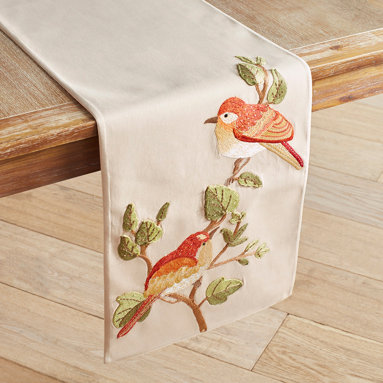 "Traditional Embroidered Bird 72"" Table Runner"