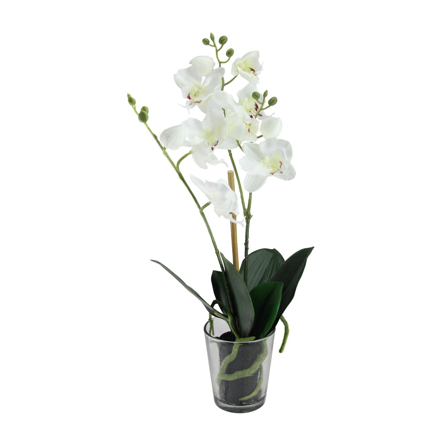Blooming White Faux Orchid in Pot