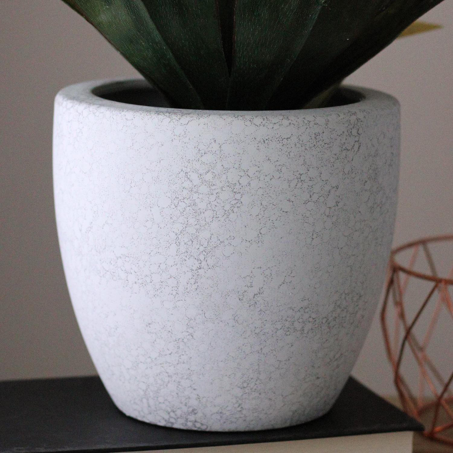 Artificial Agave Plant in Weathered White Ceramic Pot