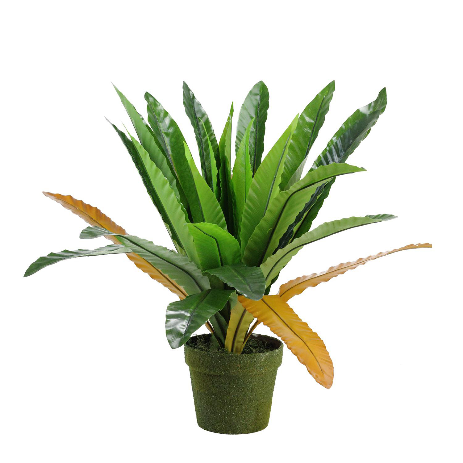 Faux Green & Brown Potted Fern Plant