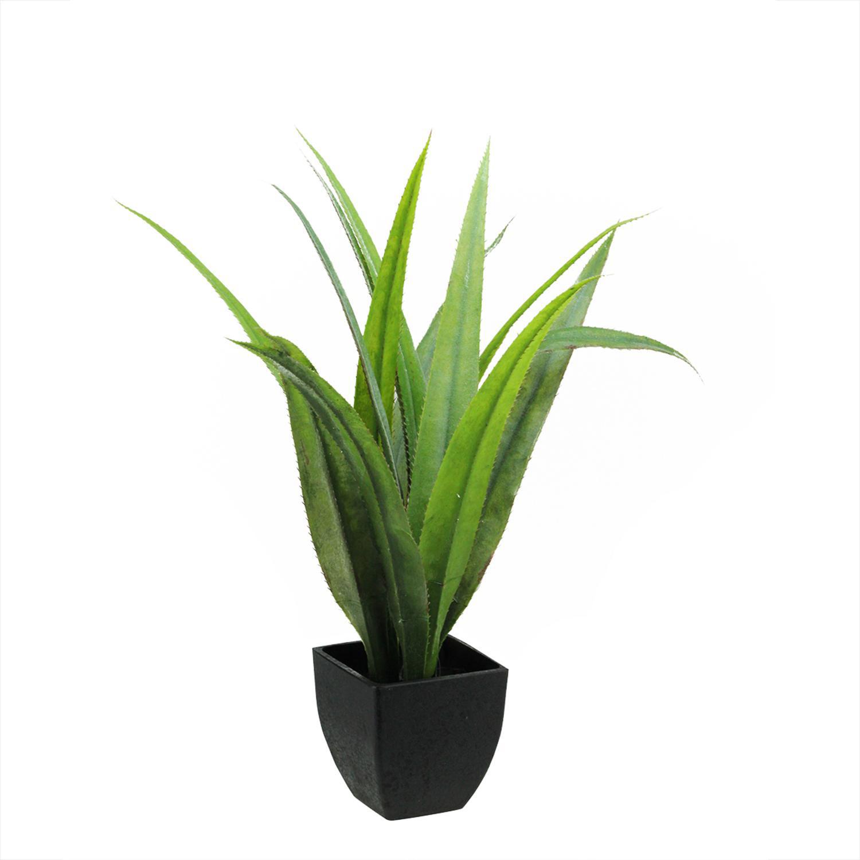 Artificial Green Agave Succulent Plant in a Decorative Black Pot