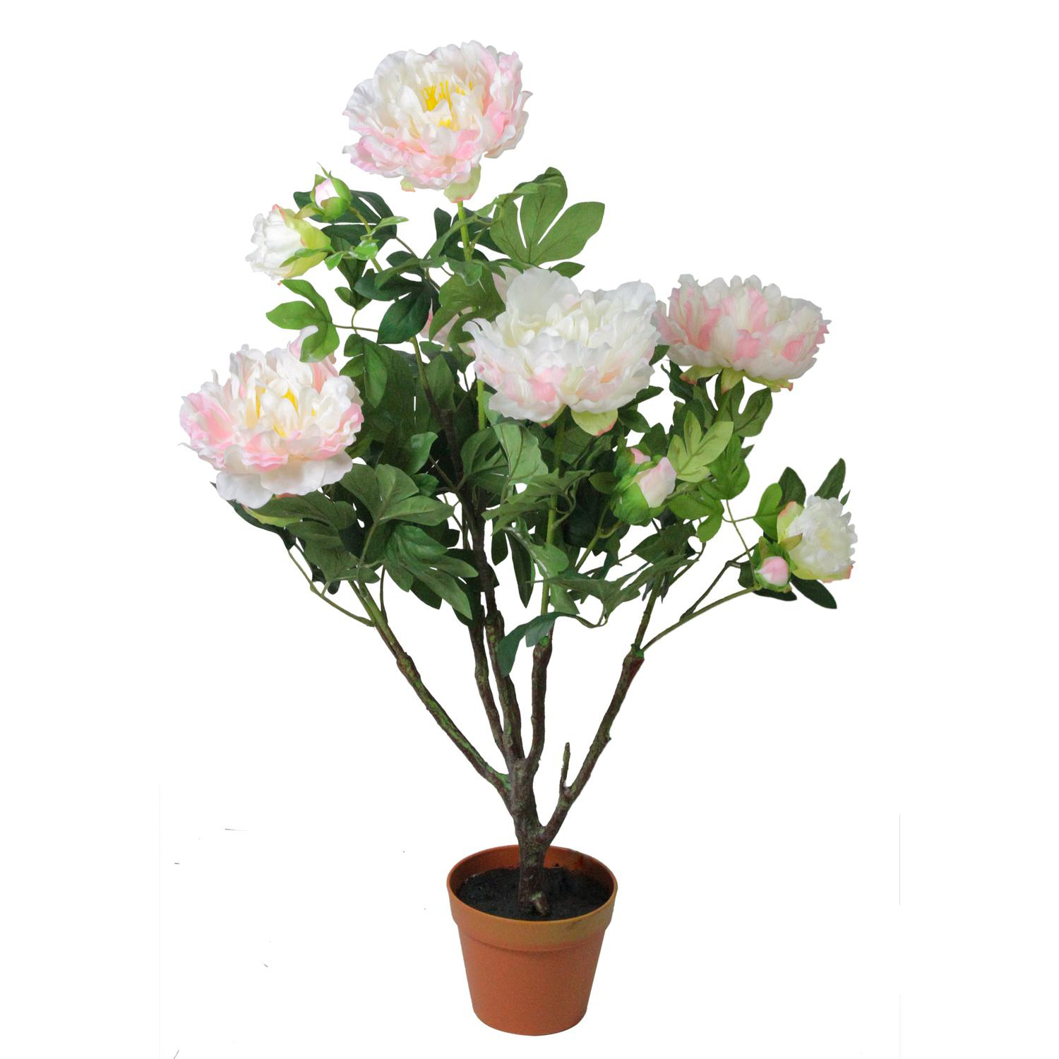 Light Peach & Pink Faux Blooming Potted Peony Plant
