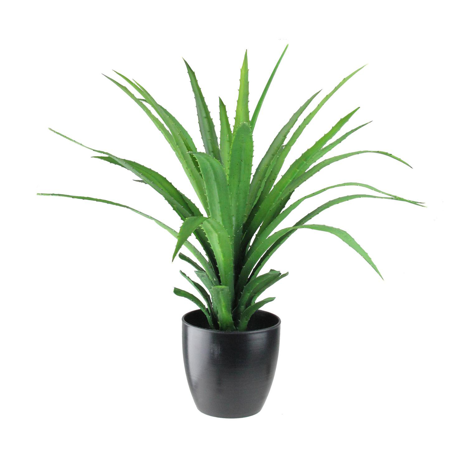 Faux Tropical Spiky Plant in Black Pot