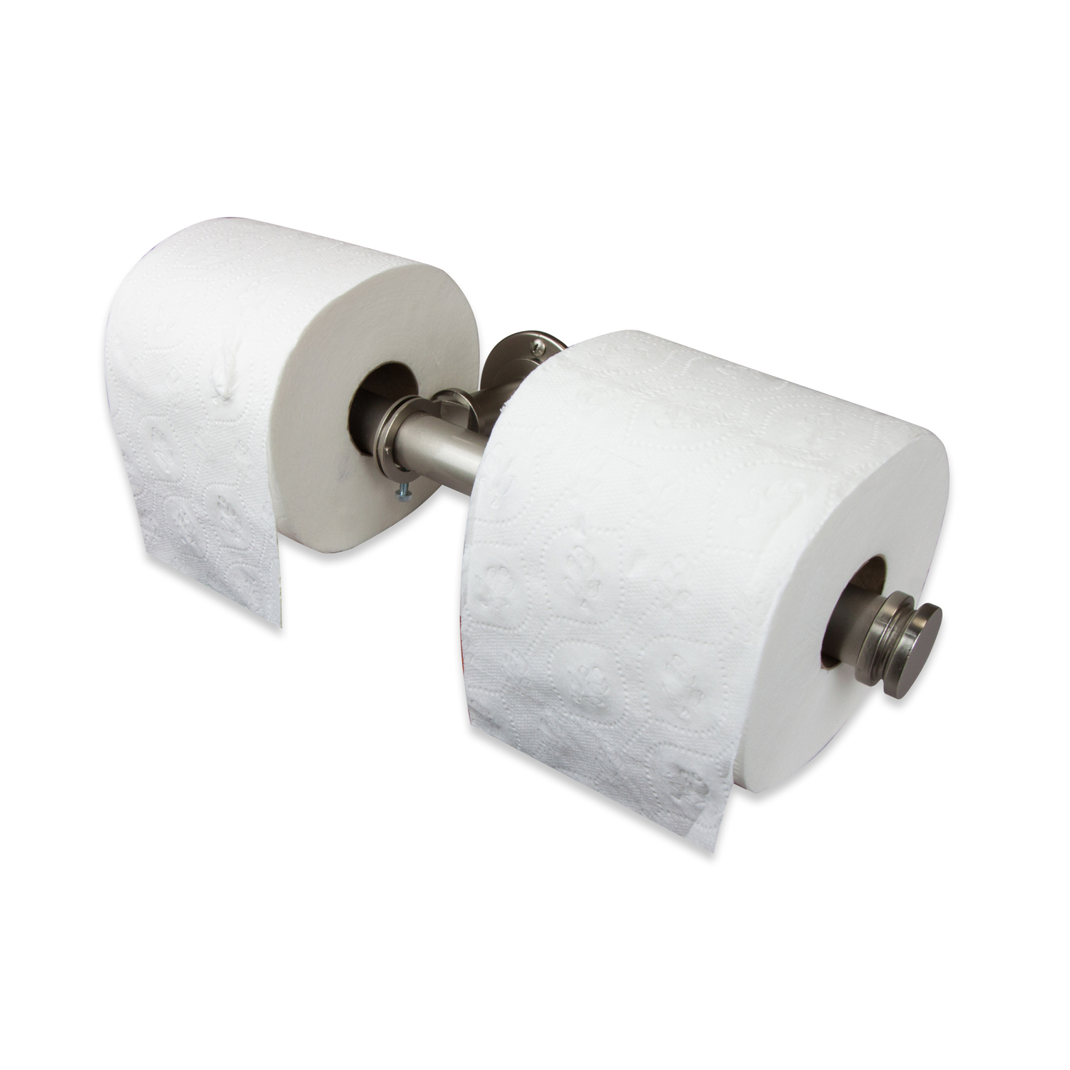 Satin Nickel Industrial Pipe Double Toilet Paper Holder or Closet Rod