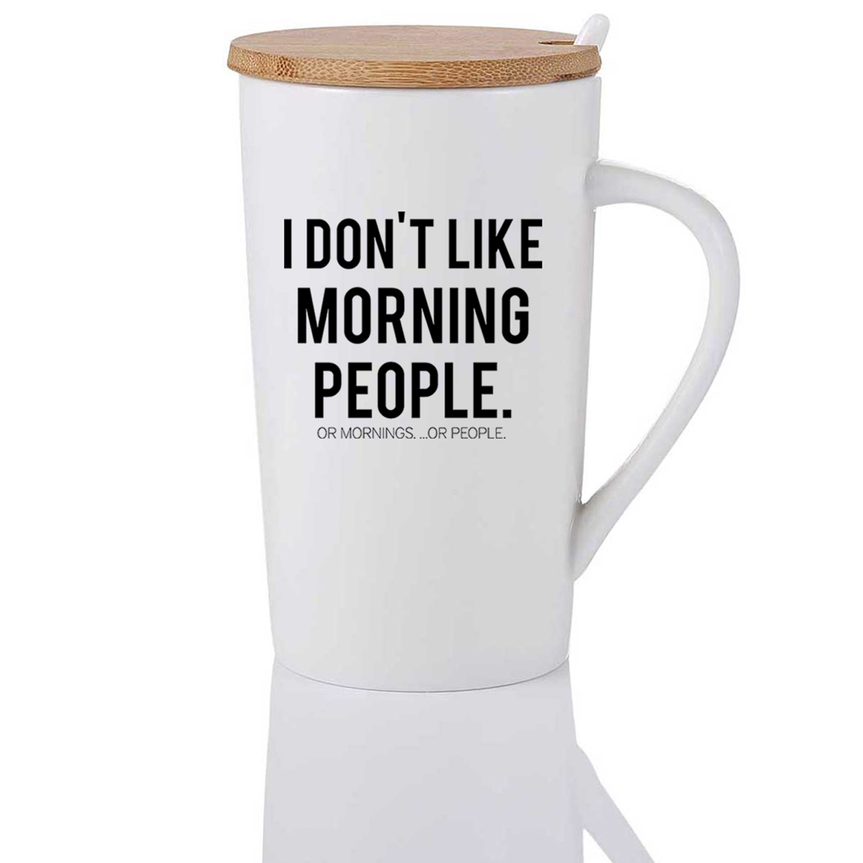 Morning People Ceramic Mug with Spoon