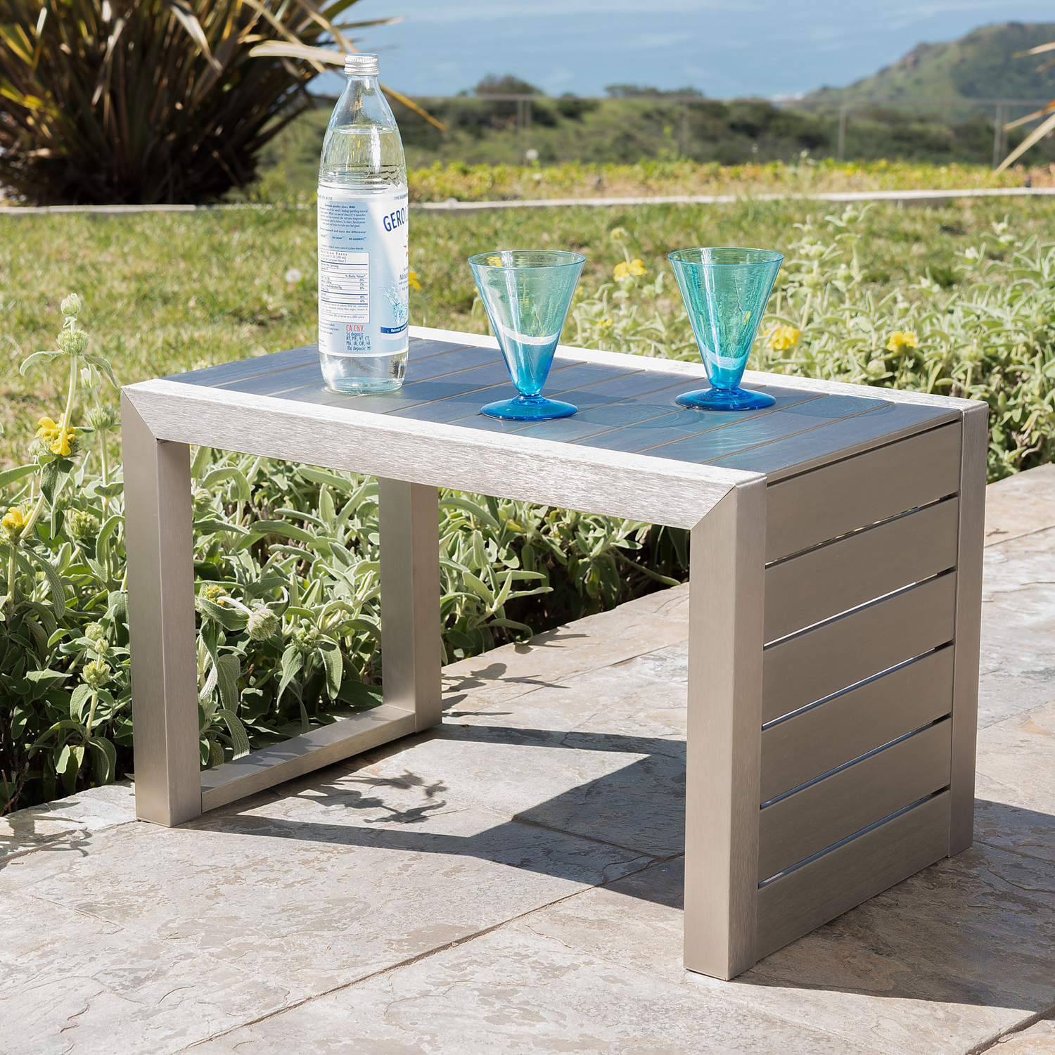 Lorenzo Outdoor Aluminum Club Chairs with Side Table