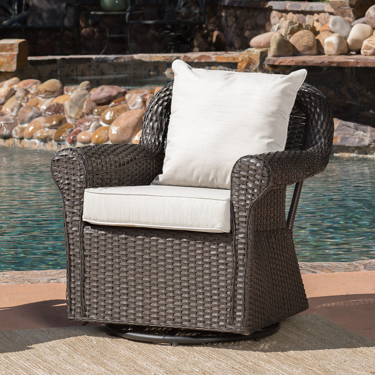Amira Brown Wicker Swivel Rocking Chair with Beige Cushions