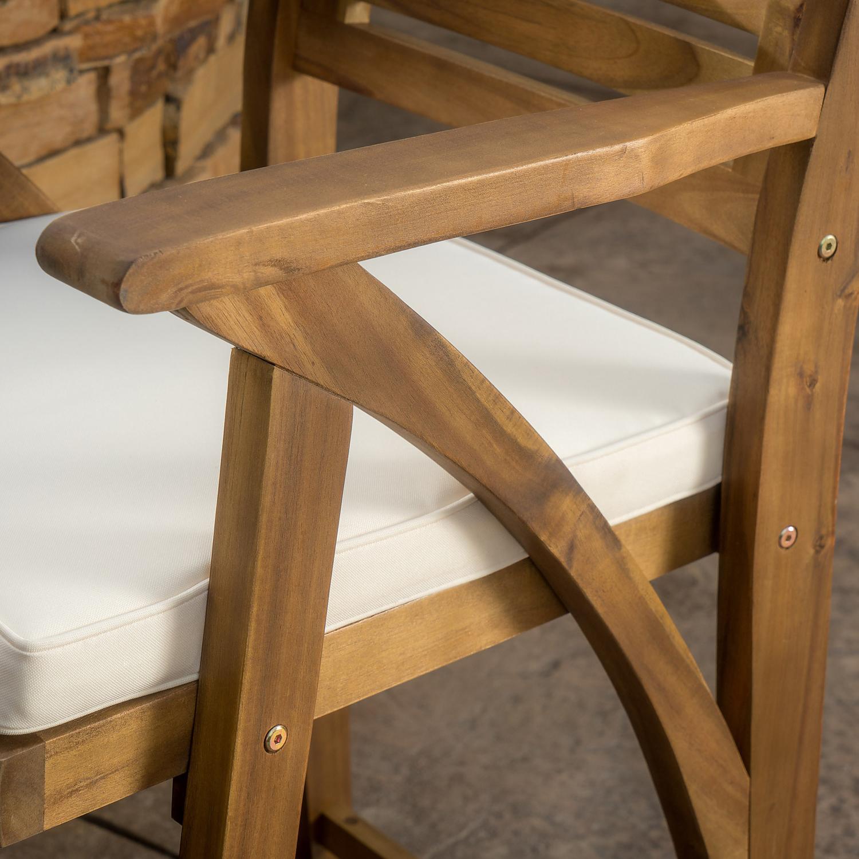 Manhattan Teak Finish Acacia Wood Barstool Set of 2