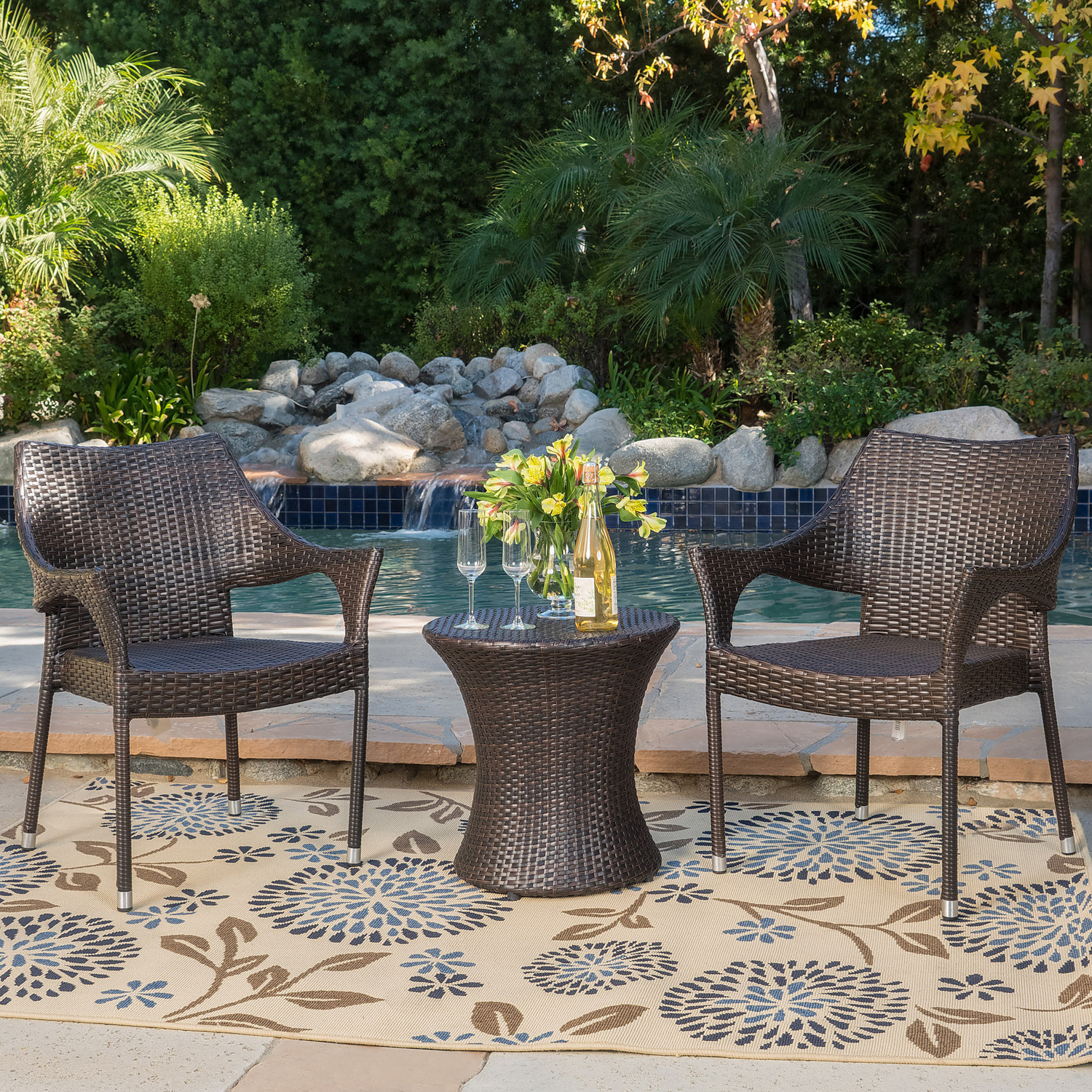 Murano Brown Wicker Stacking Chair 3-Piece Chat Set