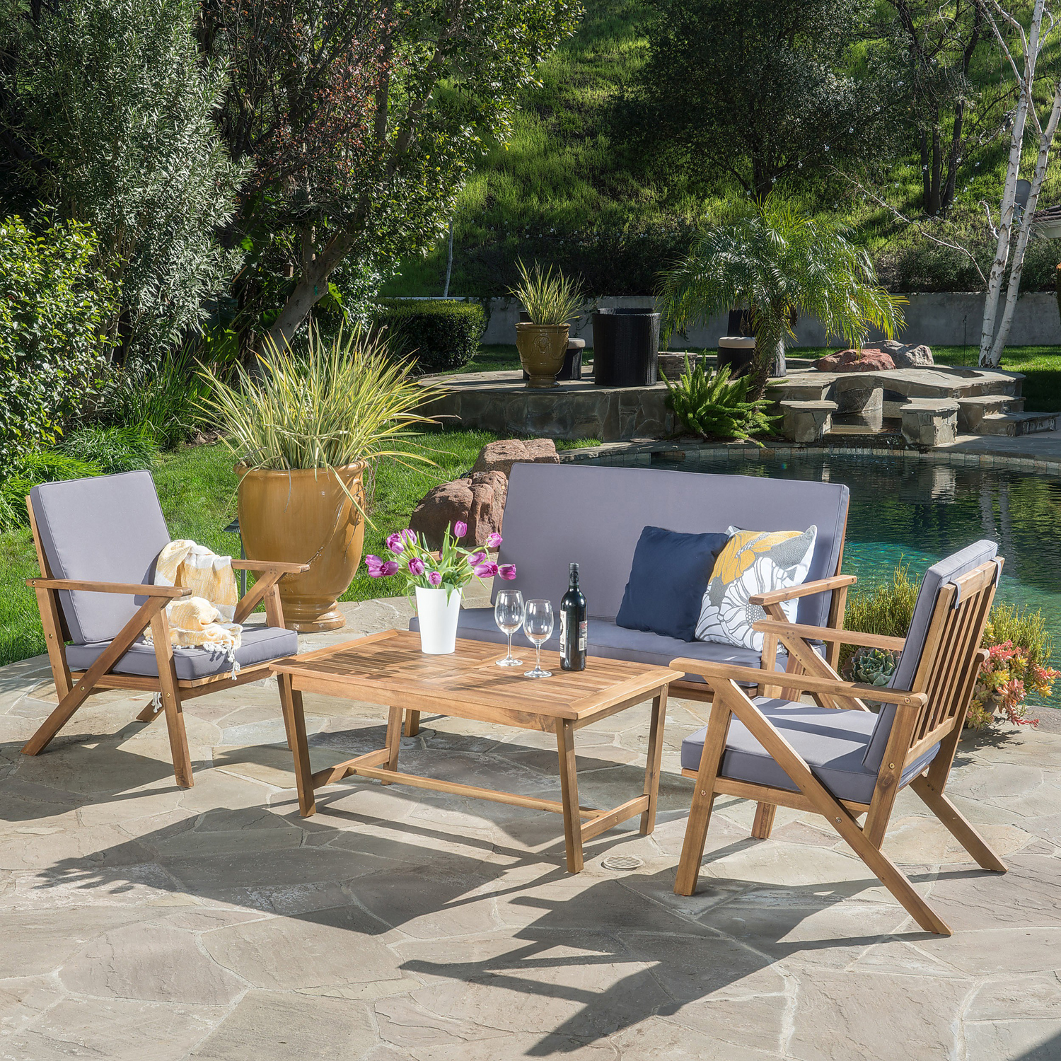 Helmes Acacia Wood 4-Piece Chat Set with Cushions