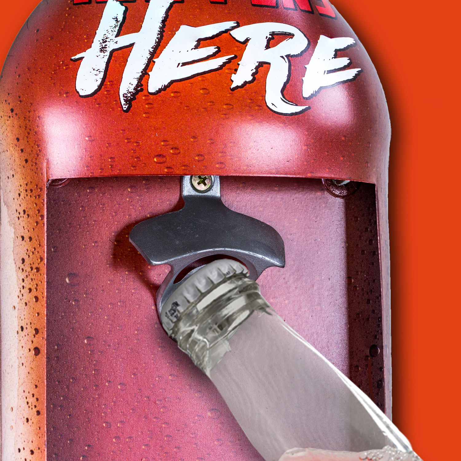 What Happens Here Stays Here Bottle Opener with Cap Catcher