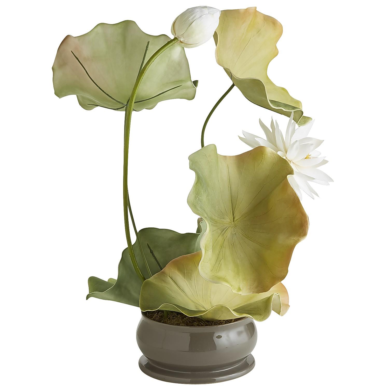 Faux Lotus & Lily Pad Arrangement