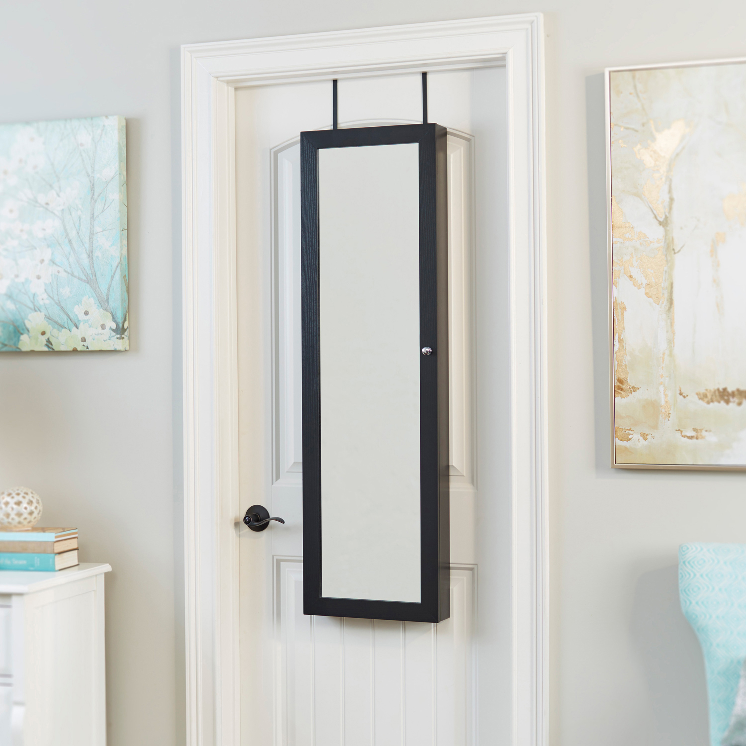 """Mirrored 47"""" x 14"""" Black Jewelry Armoire - Pier1 Imports"""