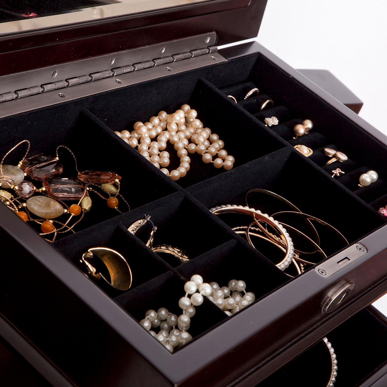 Olympia Wooden Jewelry Armoire in Dark Walnut Finish - Pier1