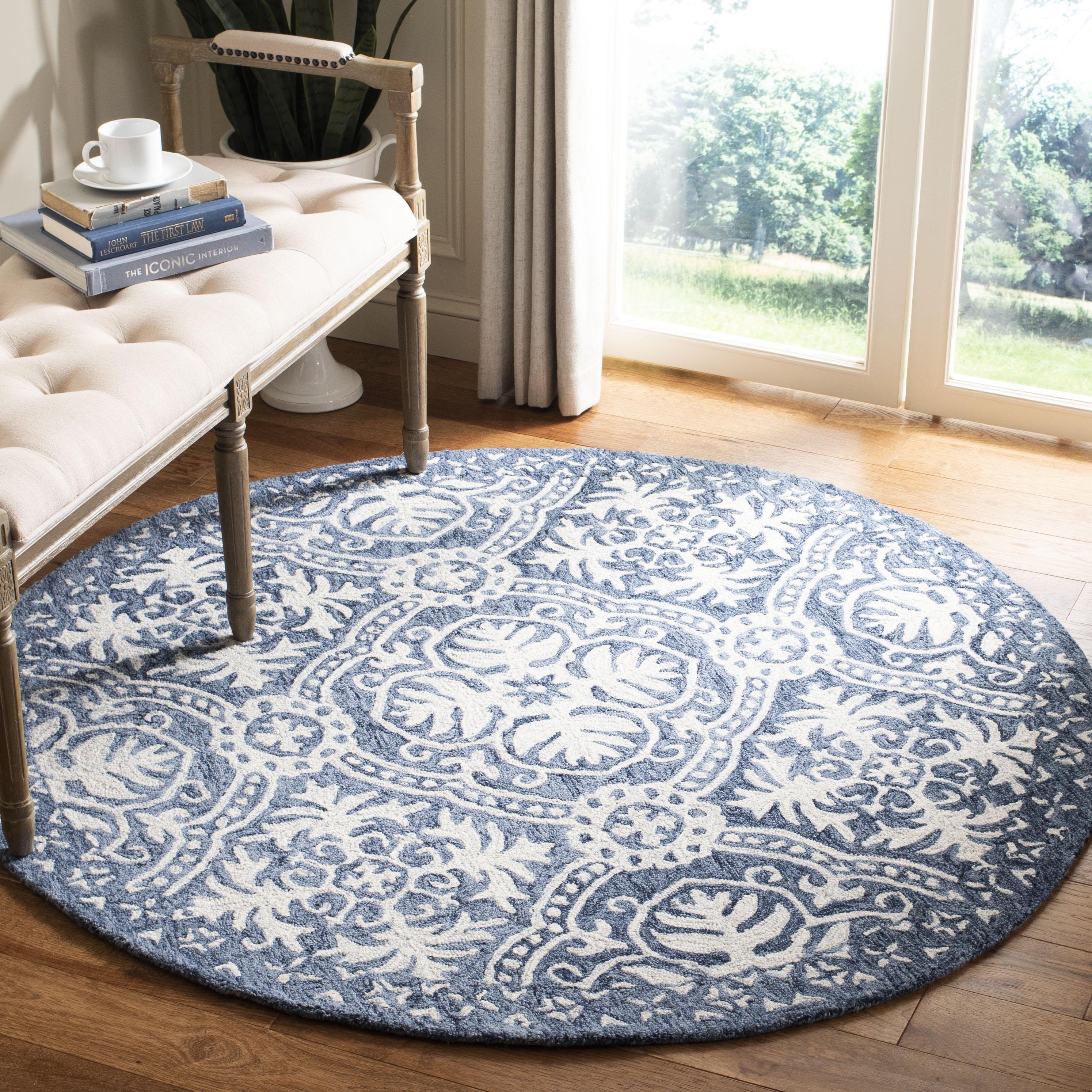 Essence 606 5' X 5' Round Blue Wool Rug