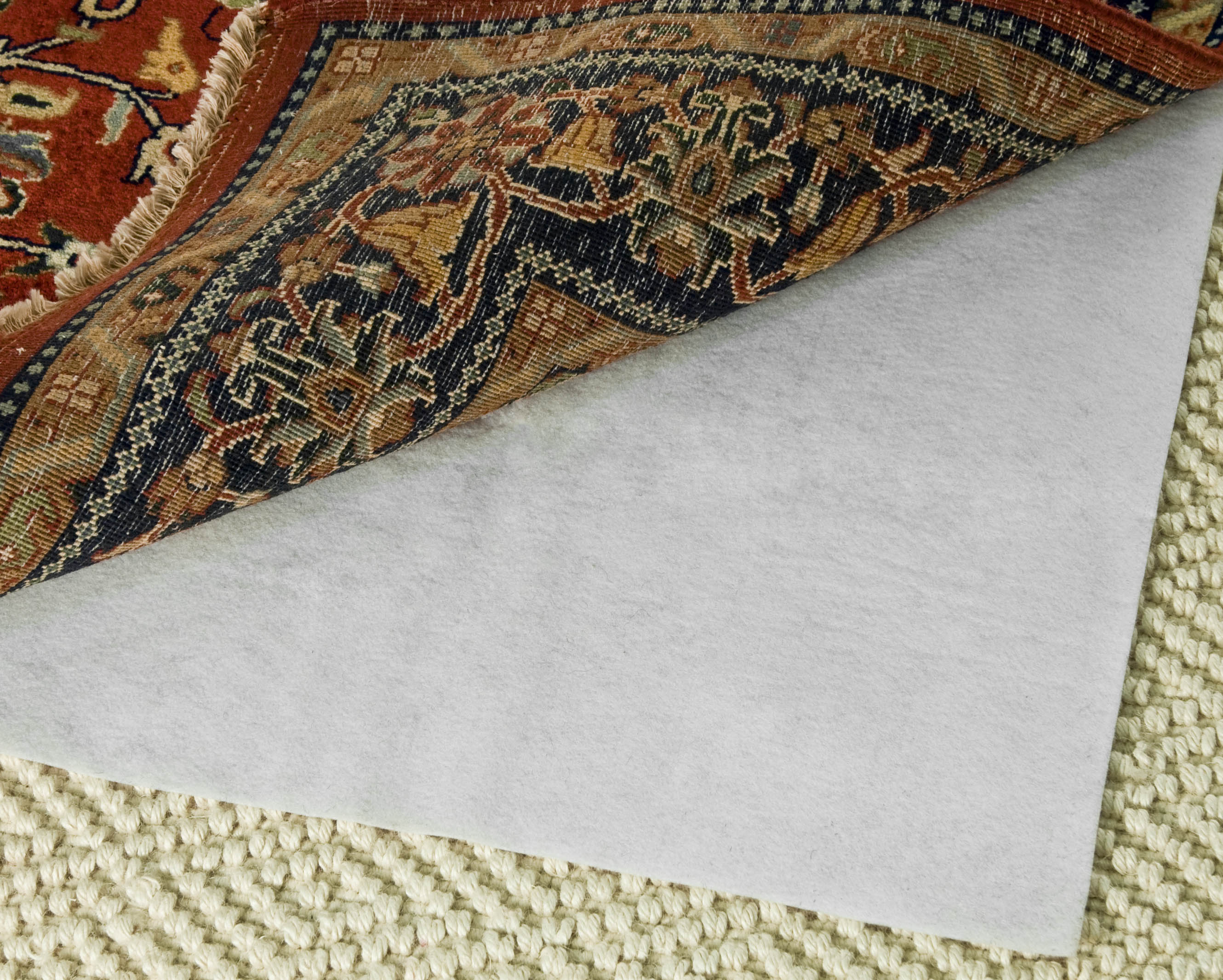 Hold Pad 8' X 11' White Polyester Rug