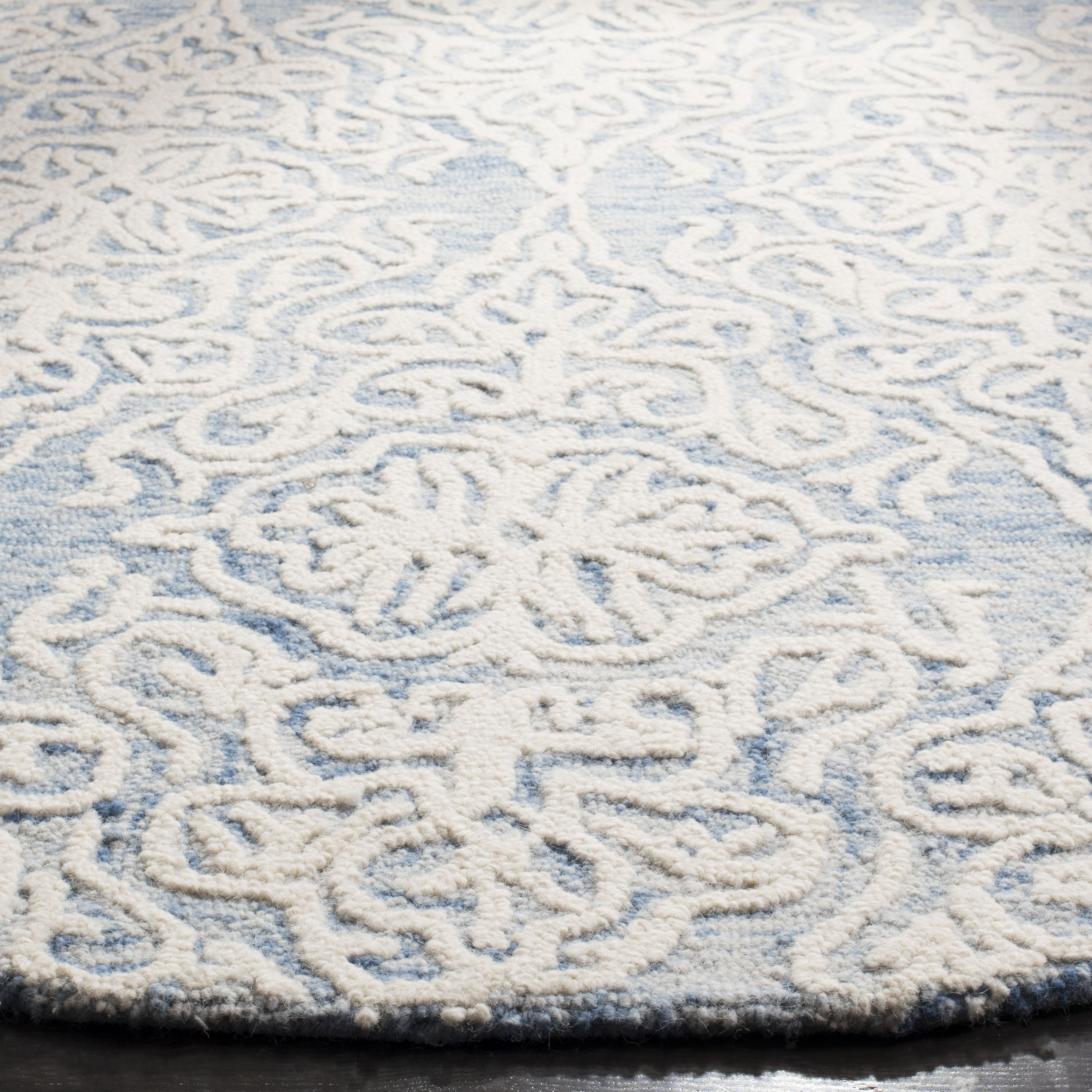 Morgan 112 6' X 6' Round Blue Wool Rug