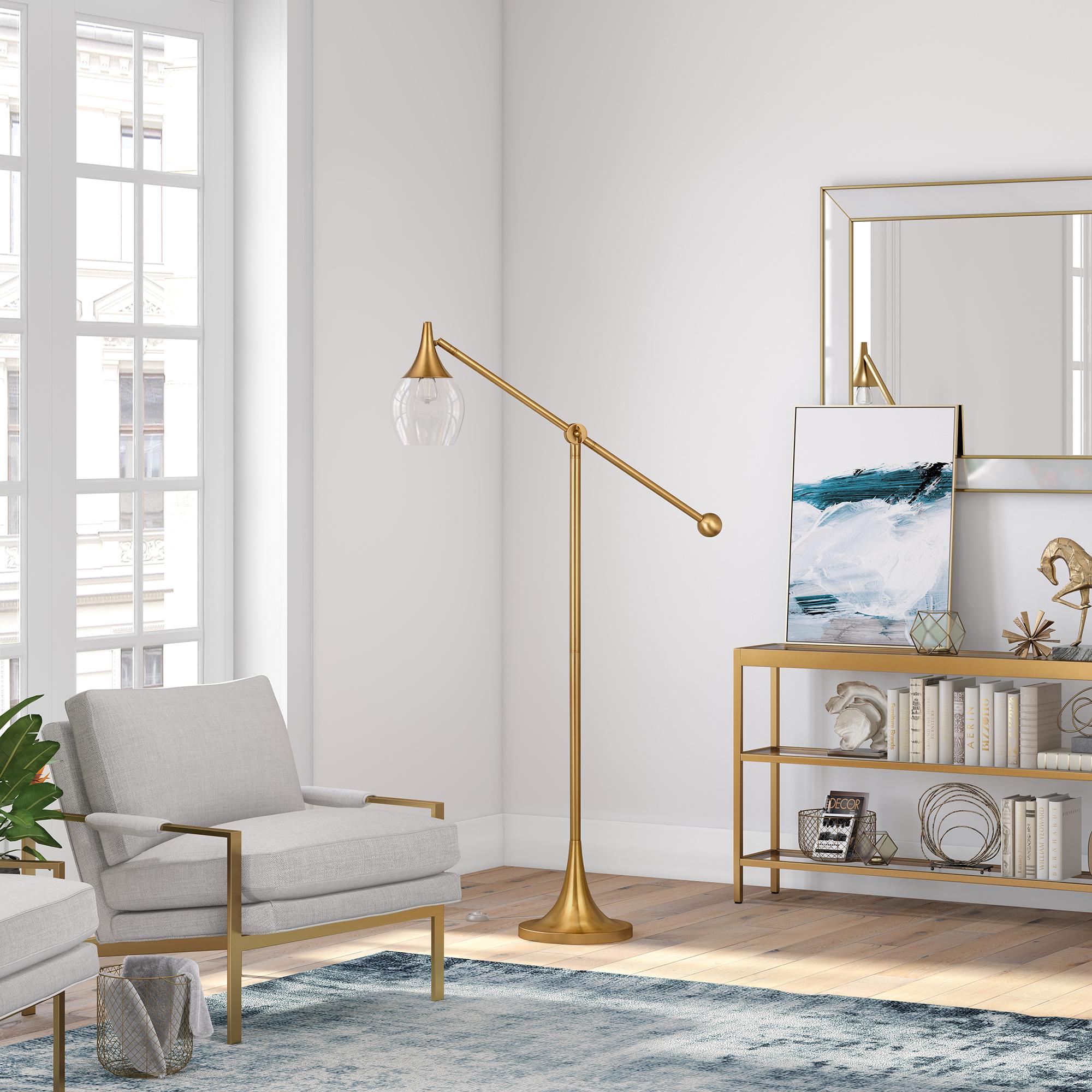 Granger Brass Floor Lamp with Boom Arm