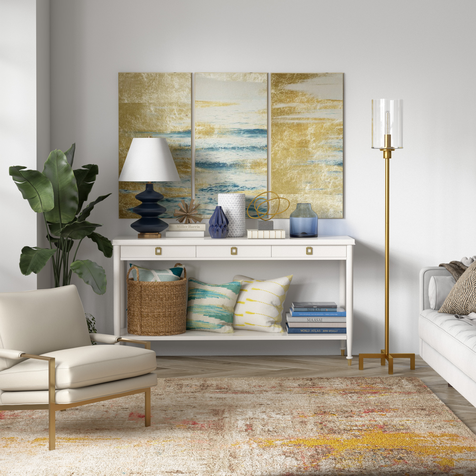 Paavo Floor Lamp in Brass with Seeded Glass