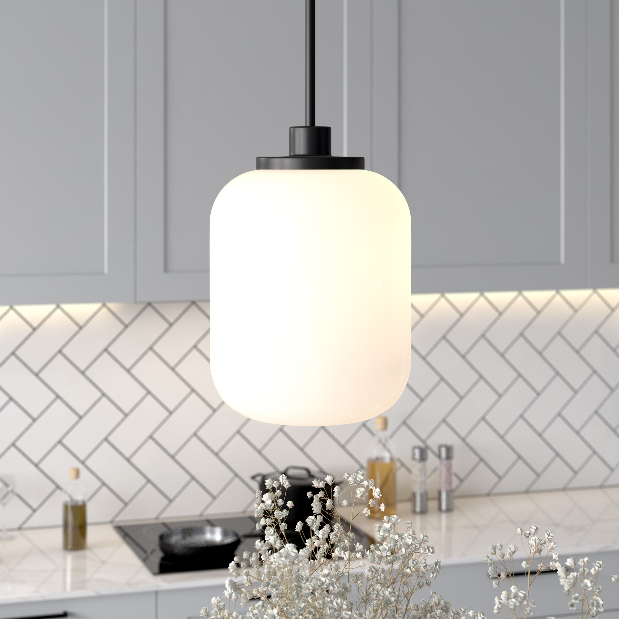 Appletree Pendant Light in Blackened Bronze with Milk Glass