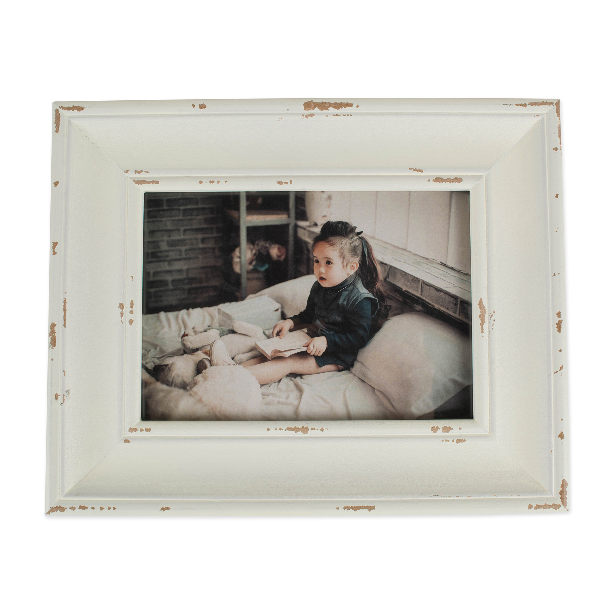 4x6 Distressed Antique White Farmhouse Picture Frame