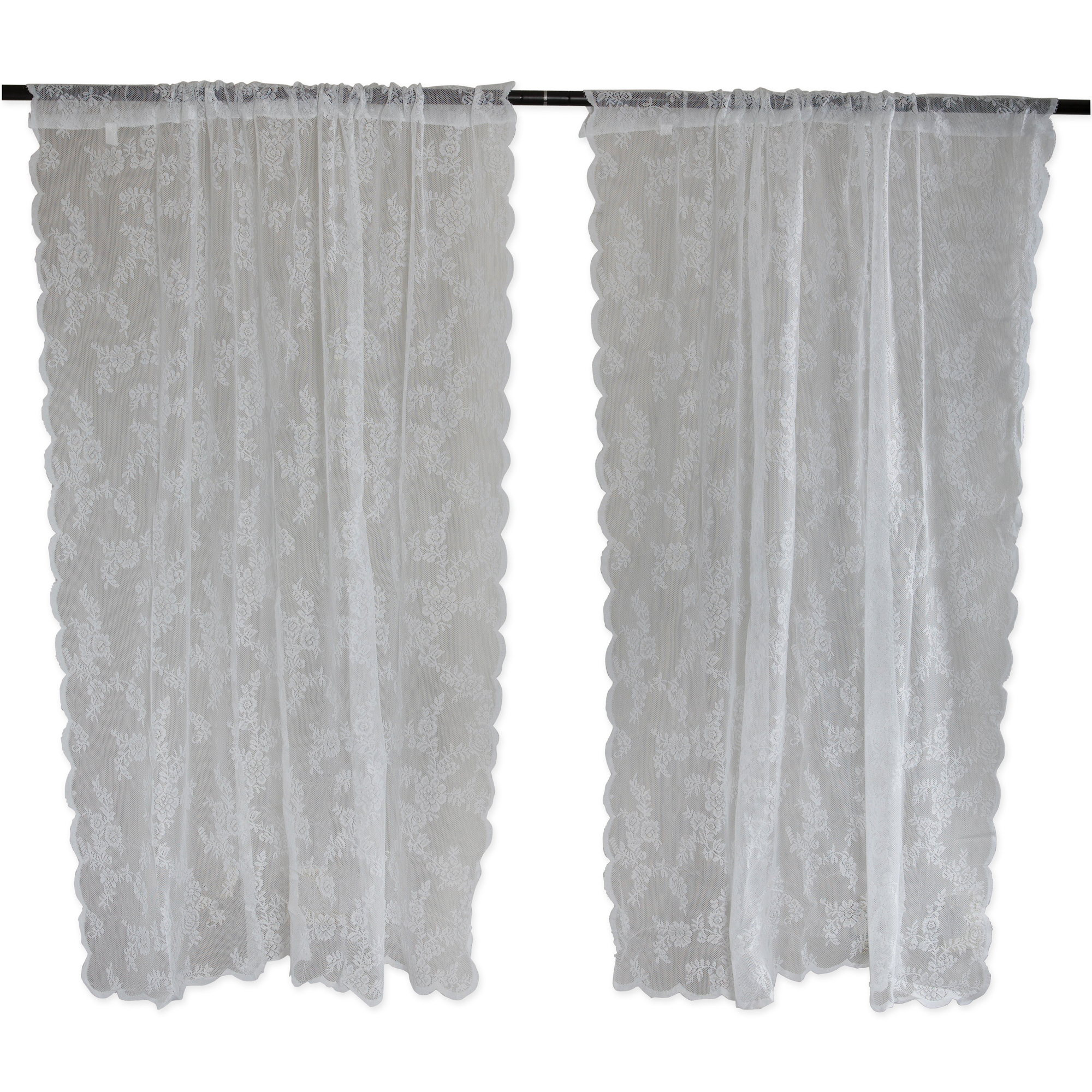 White Flower Blossom Lace Window Curtain 50x63 Set/2