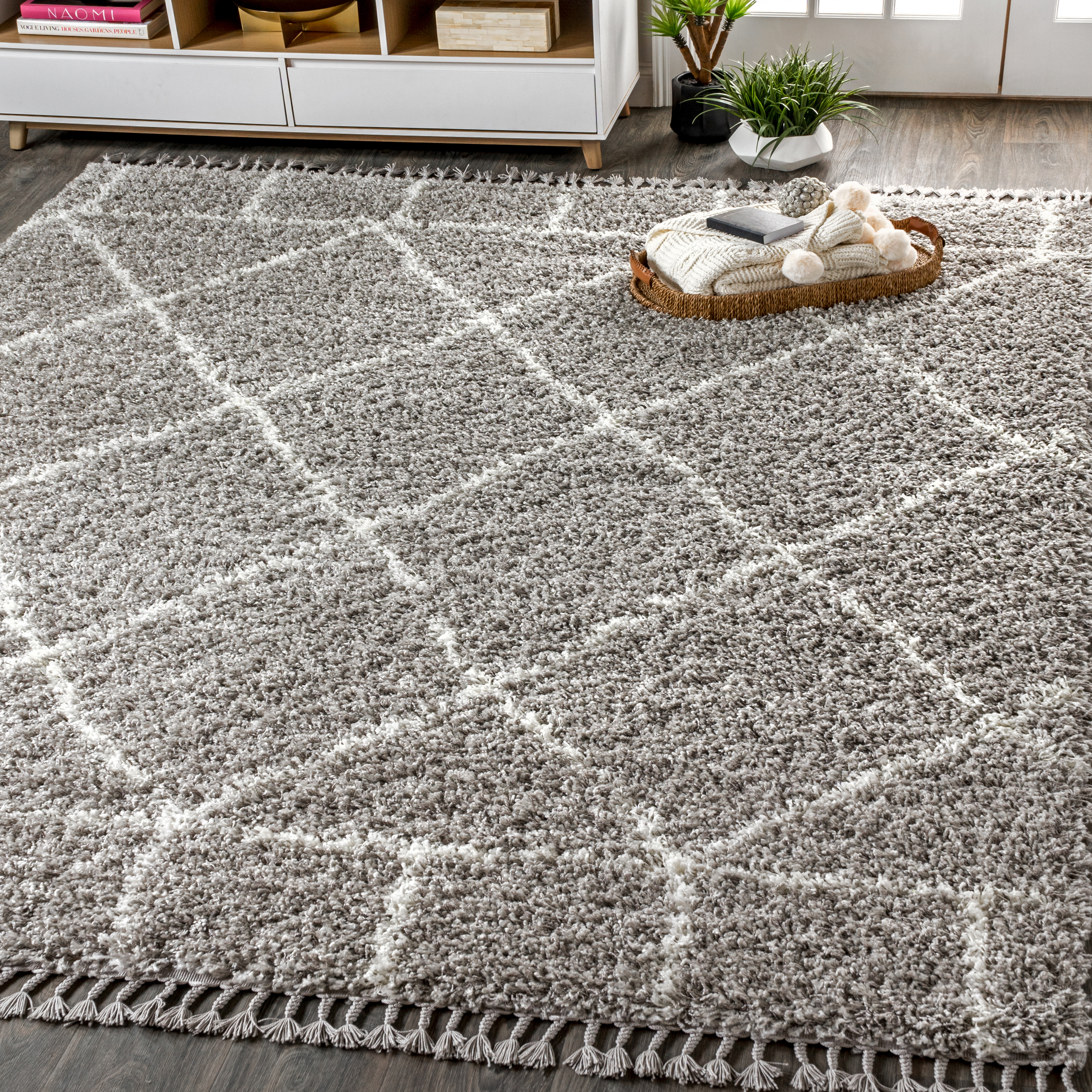 Mercer Shag Plush Tassel Moroccan Geometric Trellis Grey/Cream 4 ft. x 6 ft. Area Rug