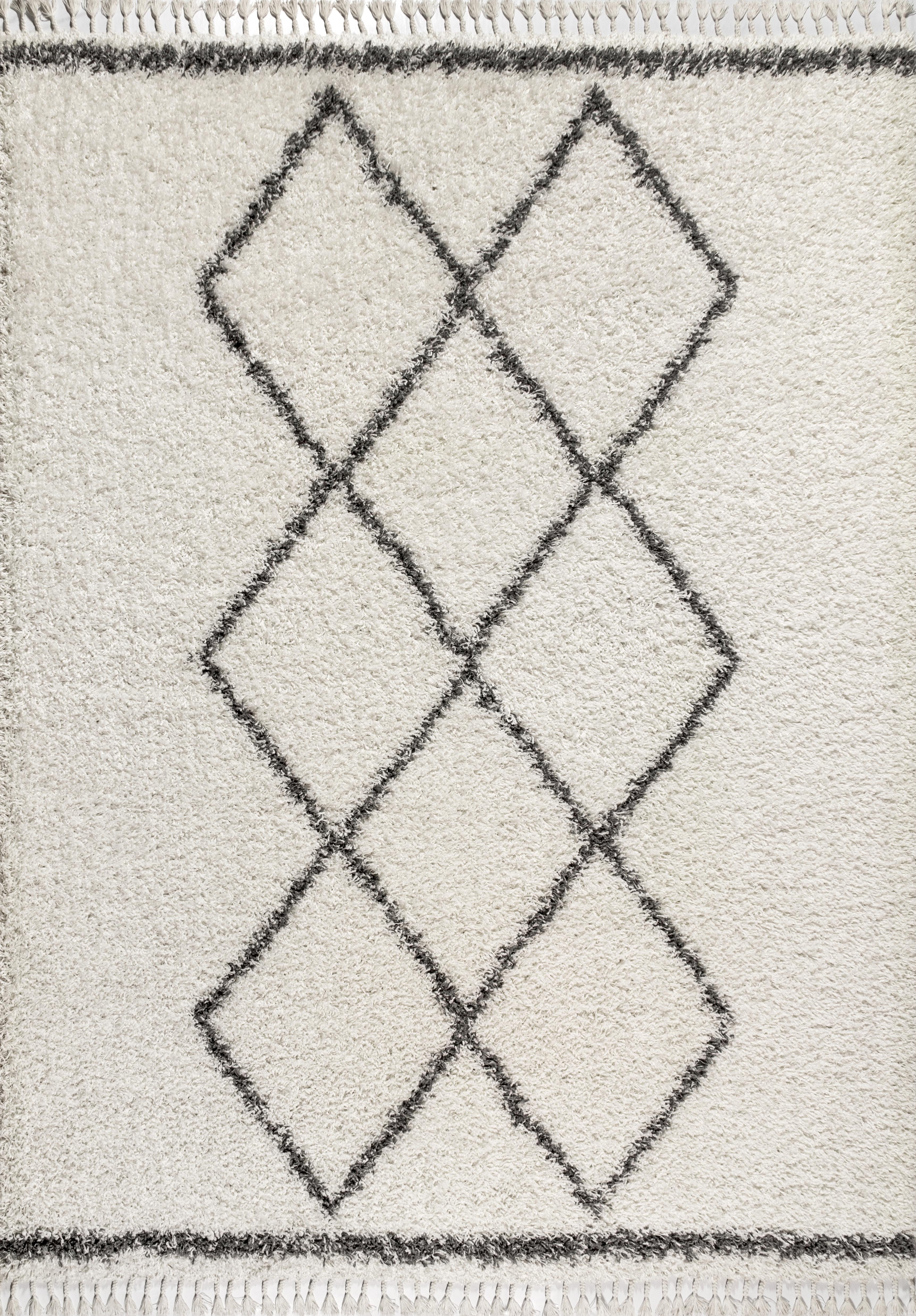 Mercer Shag Plush Tassel Moroccan Tribal Geometric Trellis Cream/Grey 4 ft. x 6 ft. Area Rug