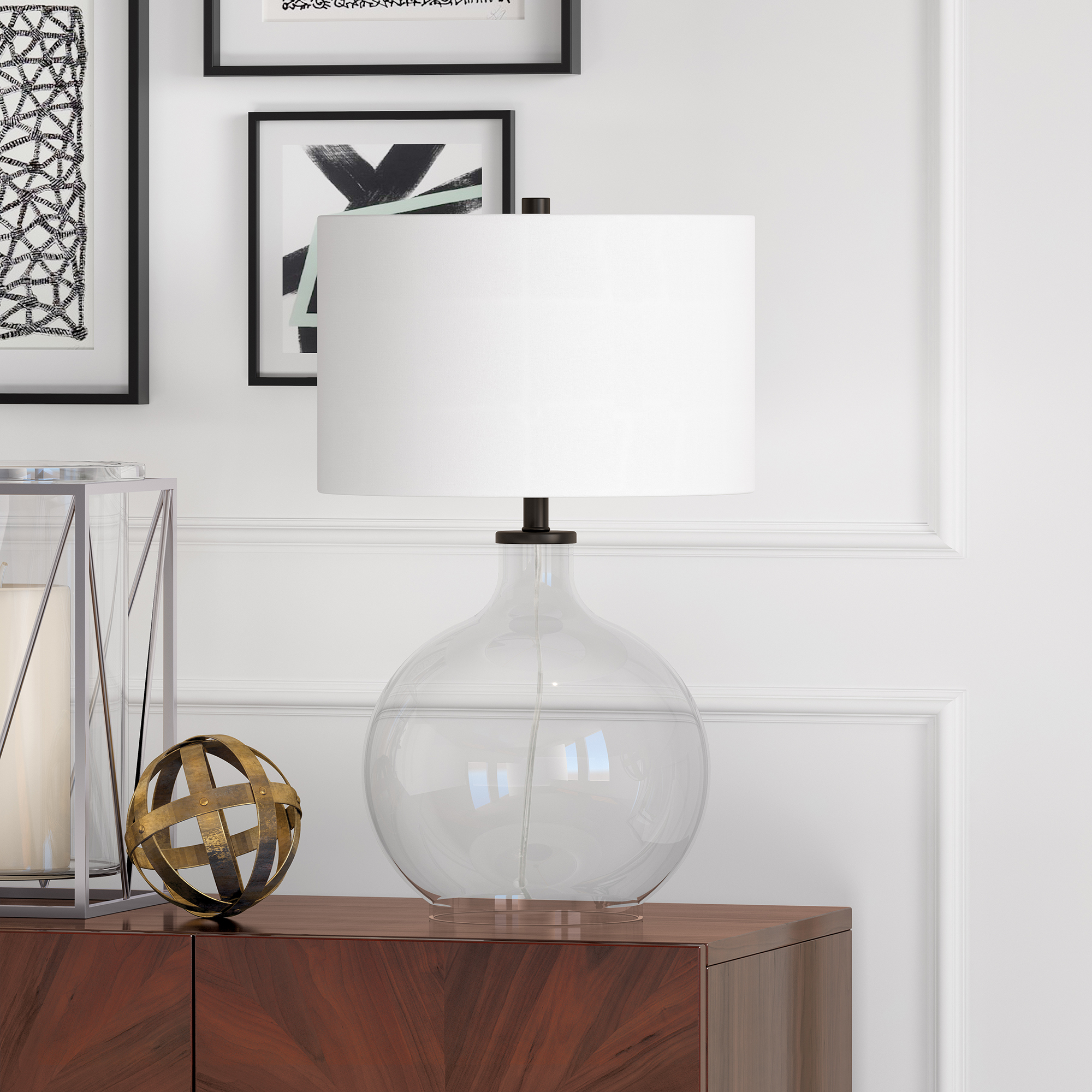 Larien Table Lamp in Clear Glass and Black Accents