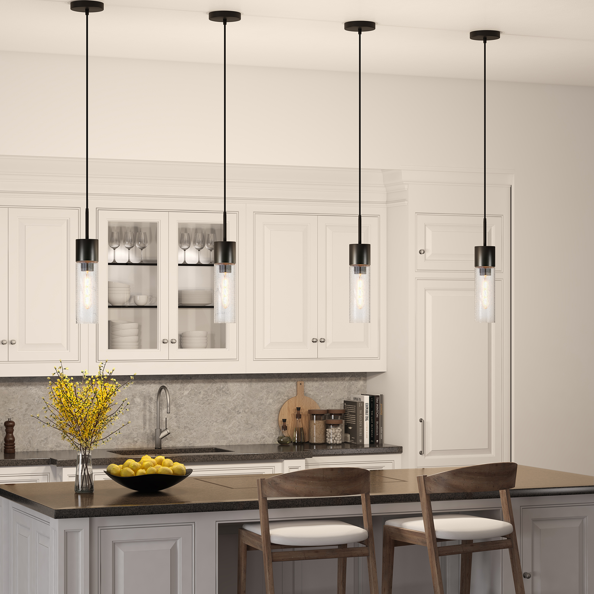 Loraine Pendant in Aged Steel and Seeded Glass